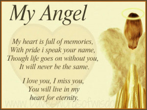 my angel my heart is full of memories with pride i speak your name ...