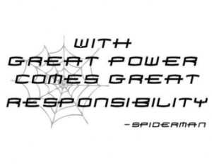 ... Great Responsibility Spiderman Superhero Quote Wall Sticker Decal