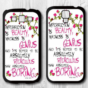 Imperfect Quotes By Marilyn Monroe Protective Cover Case For Samsung ...