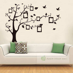 Photo Frame Tree Family Quote Branches wall decal