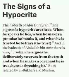 The Signs of a hypocrite ~ ahadith from both collections of sahih ...