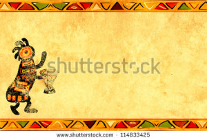 ... Dancing musician. Grunge background with African traditional patterns