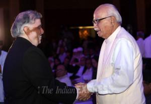 Chief Justice of India P Sathasivam greets Senior leader BJP L K
