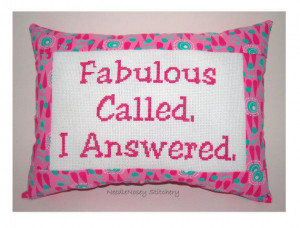funny cross stitch pillow pink pillow fabulous quote