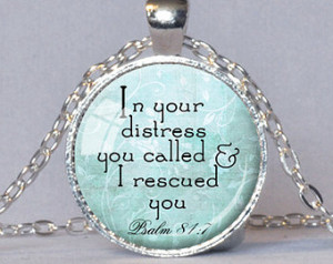 ... Gift for Christian Bible Verse Necklace Psalm 81:7 Spiritual Quote