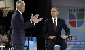 Respected Univision anchor Jorge Ramos, here with Obama at a town hall ...