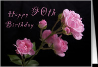 Happy 90th Birthday, Pink roses card - Product #1063259
