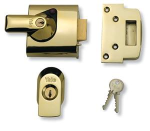 Rim automatic deadlatch with key-locking handle