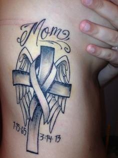 Memorial Mom Angel Winged Cross Cancer Tattoo