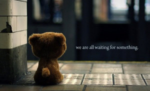 bear, cute, quote, waiting