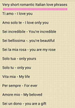 These are the italian love sayings romantic phrases Pictures