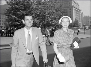 Alger Hiss and Priscilla Hiss on 8th July, 1949