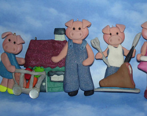 ... Cake Topper Nursery Rhyme Piggy Market Roast Beef Home Car Pig