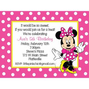 Minnie Mouse Birthday Invitation-minnie mouse, pink, polka dots
