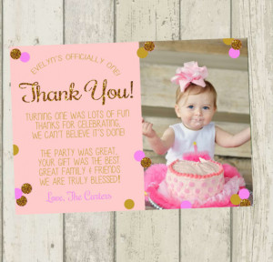 ... Thank You Card, Birthday Thank You, 1st Birthday Thank You Card, Gold