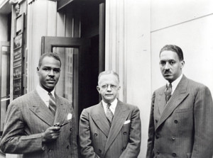 Thurgood Marshall poses with the two principal officers of the NAACP ...