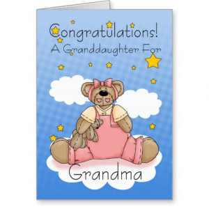 Grandma New Baby Girl Congratulations Greeting Card
