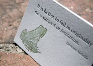 ... quote, letterpress printed, eco-friendly, Herman Melville quote, frog