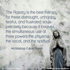 Archbishop Fulton J Sheen quote. Rosary. Catholic