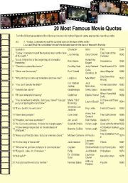 English worksheet: 20 Most Famous Movie Quotes