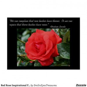 Red Rose Inspirational Flower Photo Poster Print