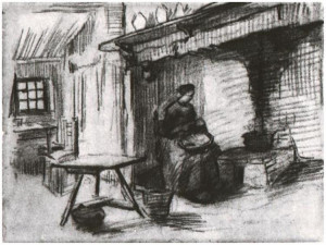 ... Gogh's Interior with Peasant Woman Sitting near the Fireplace Drawing