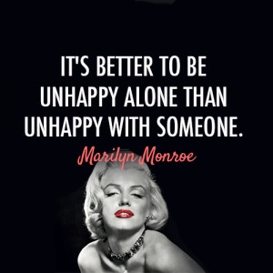 ... for this image include: Marilyn Monroe, unhappy, love, quote and alone