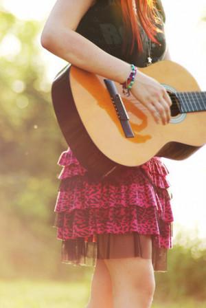 beautiful, cute, ginger, girl, girls, guitar, red hair, redhead, skirt ...