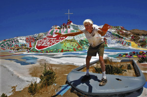 Leonard Knight works on Salvation Mountain in 2010. He used 500,000 ...