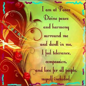 am at peace...
