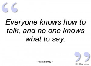 everyone knows how to talk nick hornby