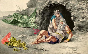 Death of Beowulf - illustration by George T. Tobin [colourised by B ...