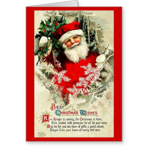 Santa Christmas Quote - Vintage Merry Xmas Greeting Cards