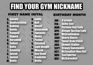 gym nicknames, funny, gym, nicknames, buff