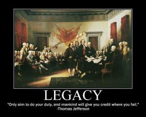 Thomas Jefferson on establishing your legacy