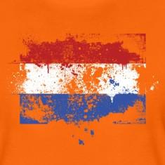 Niederländischer Flagge Grunge Graffiti Stil Orange T Shirts