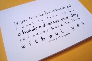 winnie the pooh quote card a hundred minus one day letterhappy etsy ...