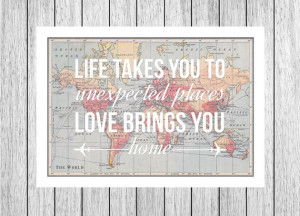 Map Print, Love Quote, Map of the World, Travel Wedding, Leaving Gift ...