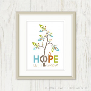 Bird in Tree. Hope Quote Saying. Colorful Spring Art Print. Chartreuse ...