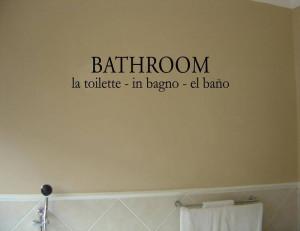 Bathroom Plan La Toilette In Bagno Vinyl Wall Font listed in: bathroom ...