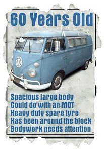 ... Shirt-60-Year-Old-VW-Camper-Van-Funny-Quote-Ideal-Birthday-Present