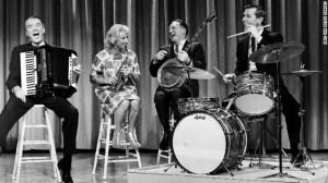 From left, actor James Stewart, Diller, Los Angeles Mayor Sam Yorty ...