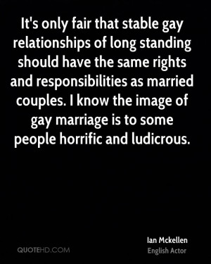 It's only fair that stable gay relationships of long standing should ...
