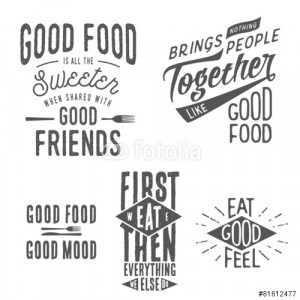 Vector: Vintage food related typographic quotes