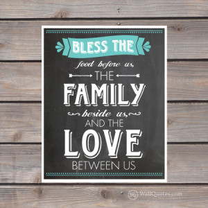 Bless The Food Family Love Chalkboard Wall Quotes™ Giclée Art Print