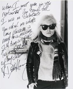 Debbie Harry, autograph manuscript of the first verse of Dreaming ...