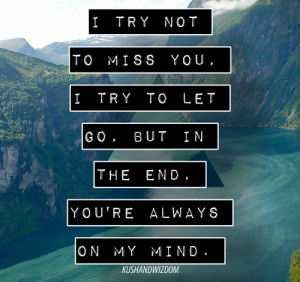try not to miss you, i try to let go. But in the end, you're always ...