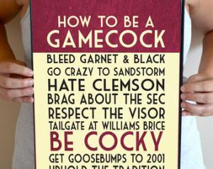 South Carolina Gamecocks Art Print, How to Be a Gamecock, USC ...