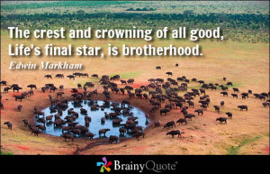 The crest and crowning of all good, Life's final star, is brotherhood ...