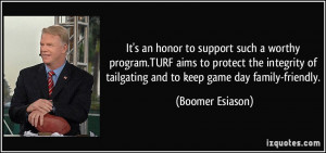 ... of tailgating and to keep game day family-friendly. - Boomer Esiason
